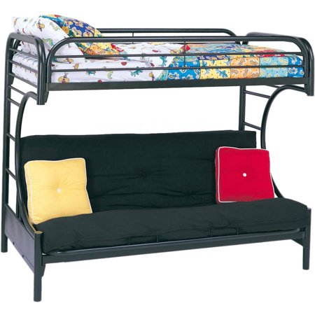 Eclipse Twin Over Futon Metal Bunk Bed, Multiple (Blue Tent Bunk Bed)