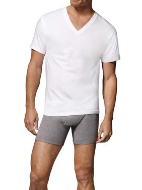 Hanes Men's Fresh IQ White V-Neck T-Shirt 6+1 Free Bonus Pack