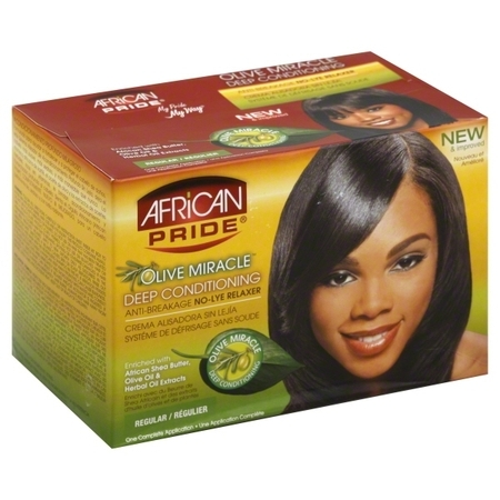 African Pride® Olive Miracle® Regular Deep Conditioning Anti-Breakage No-Lye Relaxer Kit Box