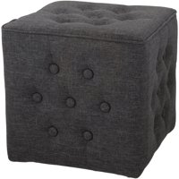 Mainstays Charcoal Tufted Linen Pouf