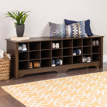 Prepac Entryway Shoe Storage Cubby Bench, Multiple Finishes (5 Round Bench)
