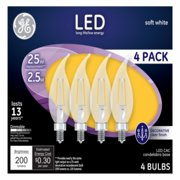 GE LED 2.5W Soft White, Decorative Clear Finish, Bent Tip, Small Base, Dimmable, 4pk Light Bulbs