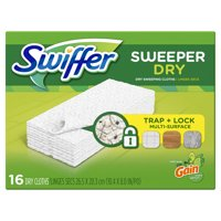 Swiffer Sweeper Dry Sweeping Pad Multi Surface Refills for Dusters floor mop, Gain, 16 Count