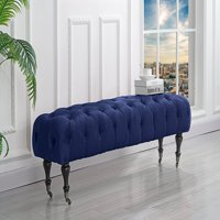 Classic Tufted Velvet Bedroom Vanity Bench with Casters (Navy)