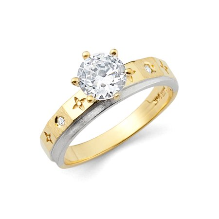 Two Tone Engagement Ring Mounting - Jewels By Lux14K White and Yellow Gold Two Tone Cubic Zirconia CZ Engagement Ring Size 5.5