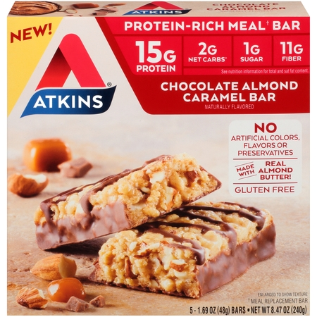 Atkins Chocolate Almond Caramel Bar, 1.69oz, 5-pack (Meal Bar)