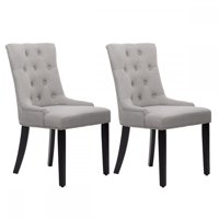 Dining Chairs Room Set Of 2 Elegant Fabric Upholstered Dining Side Chairs W/ Nailhead Gray