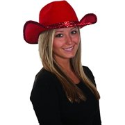 a01d99a2db52df Women's Red Sequin Felt Cowgirl Cowboy Hat Costume Accessory