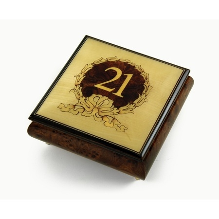 21st Birthday Centered in Gold Wreath Sorrento Hand Inlaid Music Jewelry Box - Aquarius - SWISS