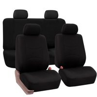 FH Group Universal Flat Cloth Fabric Car Seat Cover, Full Set, Black