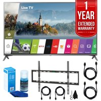 """LG 75UJ6470 75"""" UHD 4K HDR Smart LED HDTV (2017 Model) w/ Extended Warranty Bundle Includes, 1 Year Extended Warranty, Flat Wall Mount Kit for 45""""-90"""" TVs, 2x HDMI Cable, Screen Cleaner for LED T"""