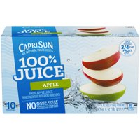 (4 Pack) Capri Sun 100% Juice Apple Ready-to-Drink Soft Drink, 10 - 6 fl oz Pouches