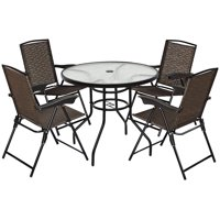 Costway 5Pcs Bistro Patio Furniture Set 4 Folding Chairs w/Table Deals