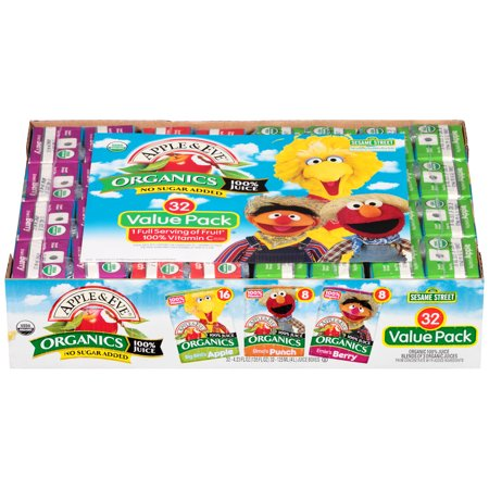 Apple & Eve Sesame Street Organic 100% Juice Variety Pack, 4.23 Fl. Oz., 32 Count (Kids Organic Juice Boxes)
