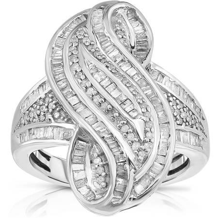 1-1/4 Carat T.W. White Diamond Silver Swirl Fashion Ring Diamond Swirl Fashion Ring