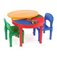 Product Image Tot Tutors Kids 2-in-1 Plastic LEGO-Compatible Activity Table and 2 Kids\u0027 \u0026 Chair Sets - Walmart.com