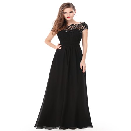 Ever-Pretty Women's Elegant Long Cap Sleeve Lace Neckline Formal Evening Prom Mother of the Bride Maxi Dresses for Women 09993 (Black 4 (Beaded Taffeta Evening Dress)
