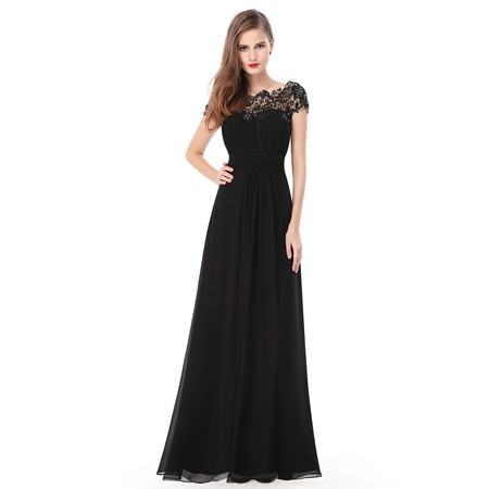 Beaded Empire Waist Prom Dress - Ever-Pretty Women's Elegant Long Cap Sleeve Lace Neckline Formal Evening Prom Mother of the Bride Maxi Dresses for Women 09993 (Black 4 US)