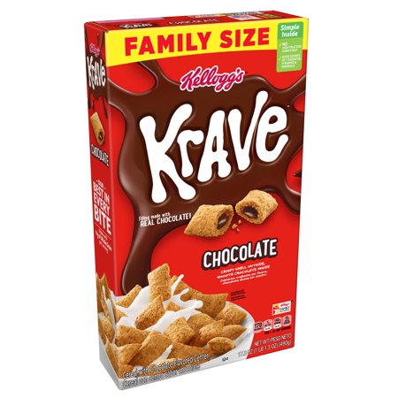Kellogg's Krave Breakfast Cereal, Chocolate, Family Size, 17.3 Oz ()
