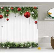 Christmas Shower Curtain Classical Ornaments And Baubles Coniferous Pine Tree Twig Tinsel Print