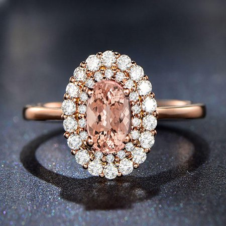 Double Halo 1.50 carat Morganite and Diamond Engagement Ring in 10k Rose Gold for Women
