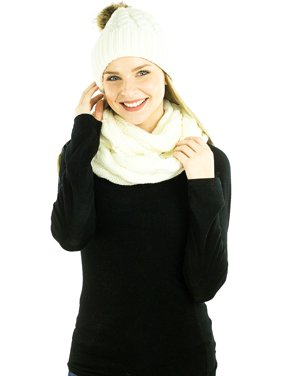 9ade06e9139 Product Image Exotic Identity Pom Pom Hat and Infinity Scarf Cable Knit  2-Piece Gift Set Snow