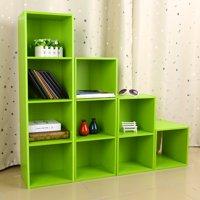 Filfeel Wood Display Shelf Storage Bookshelf 3/4 Tier Bookcase Stand Rack Cube Unit (4 Cubes, Green)