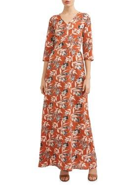 Women's Elbow Sleeve Floral Maxi Dress