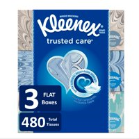 Kleenex Trusted Care Everyday Facial Tissues, 160 Tissues per Flat Box, 3 Pack (480 Tissues Total)
