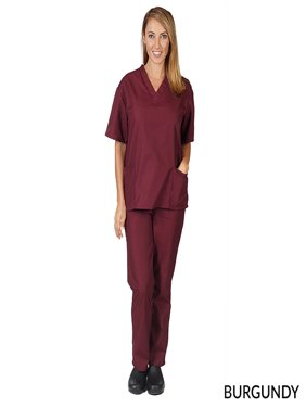 Natural Uniforms Unisex Solid V-Neck Medical Scrub Set, Style 101