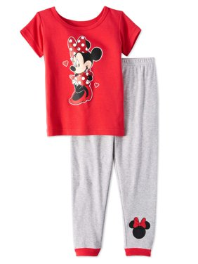 Minnie Mouse Baby Toddler Girls' Short Sleeve Tight Fit Pajamas, 2pc Set