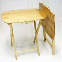 eHemco Oversized Folding TV Tray TV Table - set of 2, Hard Wood in Natural