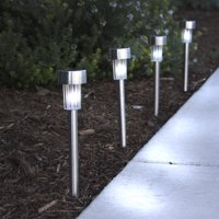 Best Choice Products 24 White Color Solar Power Stainless Steel LED Lights Pathway Landscape Garden