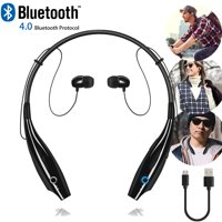 Universal Wireless Bluetooth Headset Headphones Stereo Neckband Sports Earbuds with Mic for Cell Phone - Black