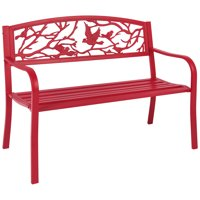 Best Choice Products Steel Park Bench Porch Furniture for Outdoor, Garden, Patio - Red