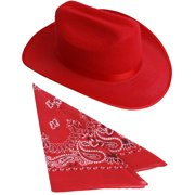 Kids Red Cowboy Outlaw Felt Hat And Bandana Play Set Costume Accessory 616a49eae5f2