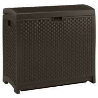 Suncast 73 Gallon Java Resin Wicker Deck Box DBW7300