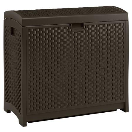 Suncast 73 Gallon Java Resin Wicker Deck Box DBW7300 (Plastic Duck)