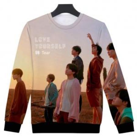 Fancyleo Women BTS Fans Hoodie 3D Print Love Yourself Tear Baseball Jacket Digital Print Pullover Cool KPOP (Cool Pullover)