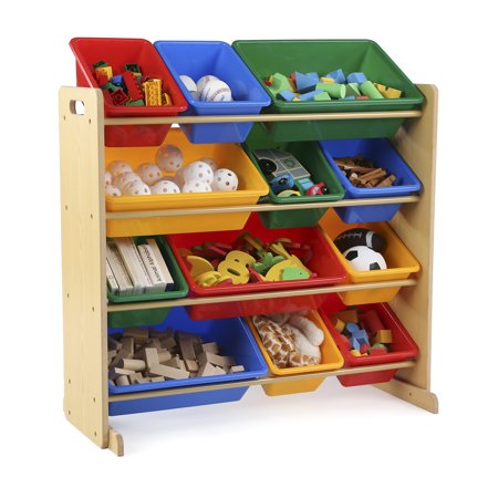 Tot Tutors Kids Toy Storage Organizer with 12 Plastic Bins, Multiple Colors](Storage Organizer With Bins)