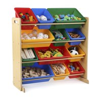Tot Tutors Kids Toy Storage Organizer with 12 Plastic Bins, Multiple Colors