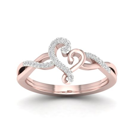 1/10Ct TDW Diamond 10K Rose Gold Abstract Heart Fashion Ring