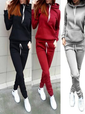 US 2Pcs Women Tracksuit Hoodies Sweatshirt + Pants Sets Casual Sport Wear Suit