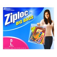 Ziploc Pinch and Seal Big Bags, Large, 3 Gallon, 5 Ct