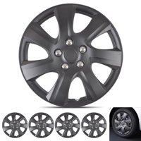 BDK Hubcap Wheel Covers Toyota Camry 2006-2014 Style - 16 Inch Silver Replica Cover, OEM Factory Replacement (4 Pieces) (Matte Black)