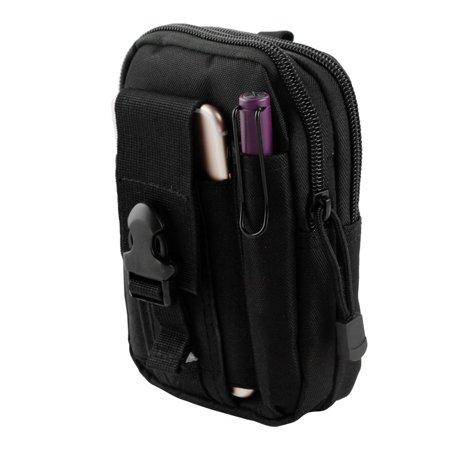 Gadgets Cell - Moto E4 Pouch - Tactical EDC MOLLE Utility Gadget Holder Pack Belt Clip Waist Bag Phone Carrying Holster - (Black) and Atom Cloth for Moto E4