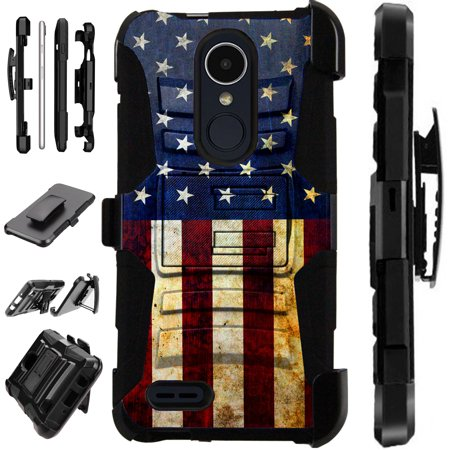 Us Airmail Cover (For LG Stylo 3 | LG Stylo 3 Plus Case Armor Hybrid Silicone Cover Stand LuxGuard Holster (US Flag Half) )