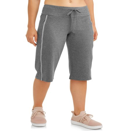 Athletic Works Women's Dri More Core Piped - Stretch Plaid Bermuda Shorts