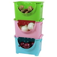 """""""3 Color Stackable Plastic Storage Containers, Set of 3 Stacking Bins"""""""