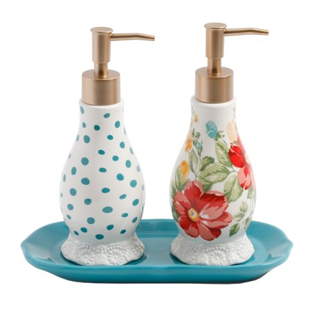 The Pioneer Woman Vintage Floral Soap and Lotion Set (Lotion Dispenser Set)